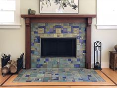 Custom tile and tile design in the Craftsman tradition. Craftsman Fireplace, Craftsman Interior, Fireplace Tile Surround, Living Room Renovation, Fireplace Design, Fireplace Remodel, Craftsman Tile, Fireplace, Craftsman Style Homes