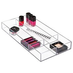 """mDesign Cosmetic Drawer Organizer for Vanity Cabinet to Hold Makeup, Beauty Products - 8"""" x 16"""" x 2"""", Clear. Great for makeup, hair accessories, and more!. Stackable modular system - mix and match to customize your storage needs!. Clean, simple design - 90 degree corners maximize drawer space. Made of durable plastic. 8"""" x 16"""" x 2""""."""