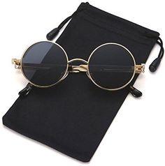 6a7e99d72f LOOKEYE Retro Round Steampunk Sunglasses Gothic Hippie Shades Metal Mirrored