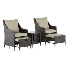 Add stylish comfort to your balcony with this Serta Laguna Wicker 5 Piece Patio Conversation Set . Small Outdoor Spaces, Small Spaces, Glass Top Side Table, Beige Cushions, Chair Side Table, Patio Furniture Sets, Outdoor Settings, Sofa Set, Outdoor Sofa