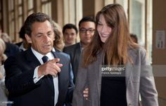 'Nicolas Sarkozy and Carla vote in the first round of legislative elections; Paris , Nicolas et Carla Sarkozy votent au premier tour des elections legislatives; Paris (Photo by Francis Apesteguy/Getty Images)'