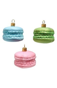Glass Macaroons Christmas Ornaments