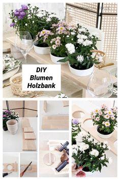 DIY Blumen Holzbank