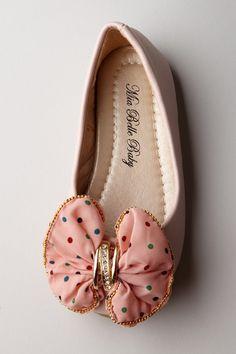 Mia Belle Baby  Polka Dot Bow Flat Shoe