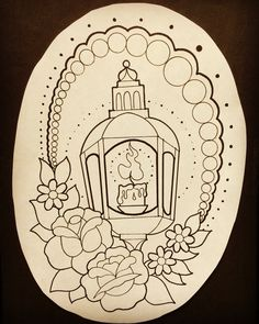 tattoo design of candle lantern with flowers