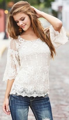 Pretty lace top  ||  http://wanelo.com/p/4983149/crochet-and-lace-bell-sleeve-top