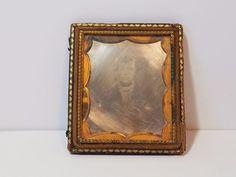 "Vintage Antique Tintype Tin Type Photo Photograph 19th Century Leather Frame 3"""