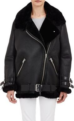 Acne Studios Shearling-Lined Velocite Moto Jacket at Barneys New York