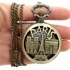 Bronze Paris Vintage Quartz Pocket Watch Necklace Pendant