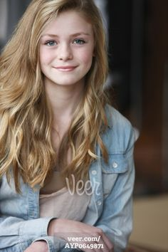 Teenage Girl With Long Blond Hair And Blue Eyes; Troutdale Oregon ...