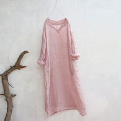 Summer Women Loose Lattice Casual Linen Cotton Pink Dress - Buykud