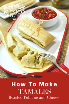 The mellow flavor of the Queso Fresco makes a perfect match with the spiciness and smoky flavor of the roasted Poblano peppers. Not everyone fills them with Poblano peppers, though, as some cooks use Serrano or jalapeño peppers. I used Queso Fresco in this recipe. Tamales de Rajas Con Queso. #mexicanfood #mexicanrecipes #homecook #foodrecipes #tamalesrecipes #tamalesderajas Roasted Poblano Peppers, Stuffed Poblano Peppers, Real Mexican Food, Mexican Food Recipes, Ethnic Recipes, Sweet Tamales, How To Make Tamales, Queso Fresco Cheese, Gluten Free Chicken