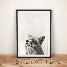 Fox wall art Woodlands Decor Black and White Animal by ShakArts