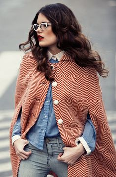 red herringbone pattern cape, shades of blue and grey