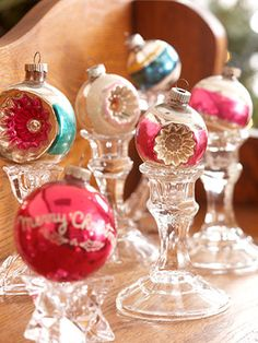 vintage christmas ornament display on glass candle sticks Noel Christmas, Vintage Christmas Ornaments, Winter Christmas, Christmas Crafts, Christmas Balls, Christmas Ideas, Pink Christmas, Christmas Candy, Simple Christmas