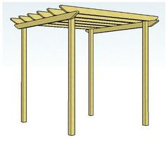 Copyright image: Simple pergola design 2 with unnotched rafters and plain rafter tail ends. (Diy Garden Pergola) Source by Pergola On The Roof, Curved Pergola, Building A Pergola, Pergola Curtains, Small Pergola, Pergola Attached To House, Cheap Pergola, Wooden Pergola, Gardens
