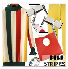 """""""Big, Bold Stripes"""" by paculi ❤ liked on Polyvore featuring Versace, Alexander Wang, vintage, StreetStyle, casual, bold, striped and BoldStripes"""