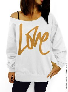 Graffiti Love - Valentine's Day - White with Silver Slouchy Oversized Sweatshirt by DentzDenim