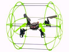 The Sky Runner NX Quadcopter is enclosed in a roll cage that doubles as a shield. No more worries about smacking the ground or smashing the blades.