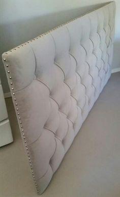 King size grey velvet tufted upholstered headboard nail head trim custom wall mounted