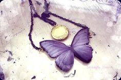 Flight of Fancy  Butterfly necklace with locket by SixAstray, $15.90