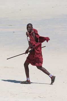Maasai in his traditional attire in Mombasa, Kenya