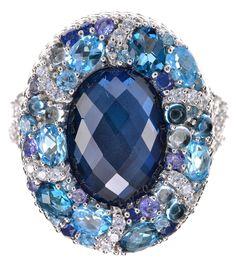 Judith Ripka 2.40 Cttw Multi Gemstone Cocktail Sterling Silver Ring Size 7 #JudithRipka #Cocktail
