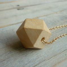 Wood Geometric Necklace Blonde Simple by SilkPurseSowsEar