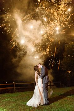 Surprise Wedding Fireworks Show! Bride and Groom Firework Portraits! Shenandoah Valley Wedding Photos by Katelyn James Photography