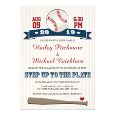 ANNOUNCE THE BRIDE AND GROOM WHO IS STEPPING UP TO THE PLATE WITH THESE CUTE AND FORMAL BASEBALL THEMED WEDDING INVITATIONS IN RED, WHITE AND NAVY BLUE HUES WITH A BASEBALL AND BAT DESIGN ON A CREAM AND WHITE STRIPED PATTERN BACKGROUND. ADD THE YEAR OF YOUR MARRIAGE ON THE PRINTED RIBBON BANNER LOOK DESIGN WITH WHITE HEARTS ON IT. ARTWORK © CHRISSY H. STUDIOS, LLC. THE BACK OF THIS SPORTS THEME WEDDING INVITE HAS A JERSEY LOOK DESIGN THAT CAN BE CUSTOMIZED WITH THE COUPLE'S MARRIED NAME AND…