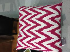 perfect throw pillow for girls bedroom, hot pink and white chevron