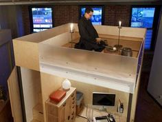 Tiny, perfect, movable, flat-pack live-work loft. Too much of a kid in me, this IS cool. I could forgo the meditation and candles....