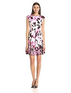 Maggy London Womens Twin Paintbrush Bud Scuba Fit and Flare Dress Soft WhitePink 10 * Continue reading at the image link.