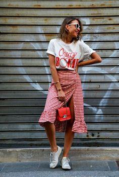 gingham skirt, red bag, zara