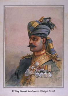 Head and Shoulders portrait of Risaldar, Durrani, illustration for 'Armies of India', by Major G. Macmunn, published in 1908 Wall Art & Canvas Prints by Alfred Crowdy Lovett American Revolutionary War, American Civil War, Indiana, Bengal Lancer, British Army, British Indian, Indian Army, Military History, The Incredibles