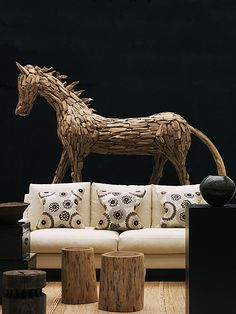 Andrew Martin - Night And Day Fabric Collection - Sofa with neutral fabric and cushions with neutral background and bold dark blue and grey circles. Horse Sculpture, Roman Blinds, Day For Night, Floral Fabric, Paisley Print, Glass Art, Cushions, Pillows, Upholstery