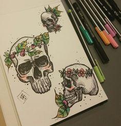 FAT KAT  #tattoo #tattooideas #skull #fatkatstudio #ink #dotwork #drawings #skulltattoo #tatuaż #fatkat #skulldrawing