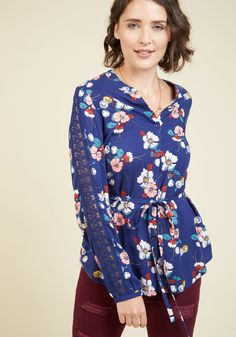 Word of Blouse Button-Up Top. Have you heard about this floral top from our ModCloth namesake label? #blue #modcloth
