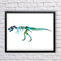 T-Rex Skeleton, Tyrannosaurus Rex watercolor, Dinosaur print, T-Rex Poster, Dinosaur Art, Tyrannosaurus poster, Wall art, Watercolor decor by Recyman on Etsy