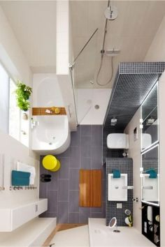 """Petite Salle de Bains : 44 Idées d'Aménagement 44 ideas for a small bathroom. Discover tips, tips, furniture and accessories """"space saving"""" to optimize the space of a small bathroom. Bathroom Renos, Bathroom Layout, Bathroom Interior Design, Bathroom Ideas, Bathroom Designs, Bathroom Renovations, Bathroom Makeovers, Bathroom Organization, Compact Bathroom"""