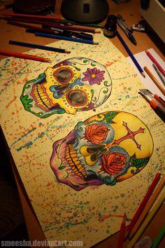 mexican skulls by smeesha.deviantart.com on @deviantART