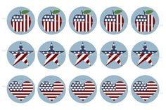 Stars and Stripes theme 4 x 6 digital collage for making jewelry or magnets