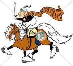 cartoon senior horse rider