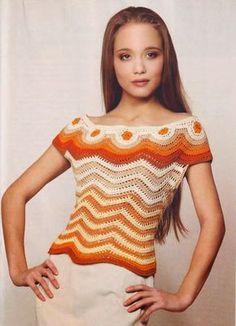 Crochet Maravillas: Puntos y prendas de vestir con punto zigzag #crochetpatterns