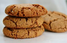 Gingersnap Cookies - Primal/Paleo 1 3/4 cup almond meal/flour 1/8 tsp salt 1/4 tsp baking soda 1/2 tsp cinnamon 1/4 tsp ground cloves 1/4 tsp ground ginger 1/4 cup maple syrup 1/8 cup coconut oil, melted 1/8 cup molasses 1/2 tsp vanilla  Preheat oven to 350. Mix everything together. Form into balls- about a tablespoon of dough per cookie. Place on a greased baking sheet. Bake for about 15-20 minutes.