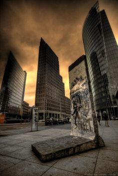 berlin wall and office buildings