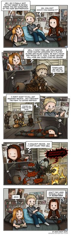 Skyrim: Three Kinds Of People by Isriana.deviantart.com on @DeviantArt <--- I'm the last guy, never thought of killing Astrid before...