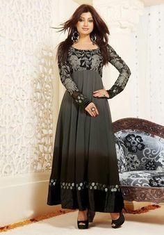 Shaded black designer party wear anarkali salwar kameez