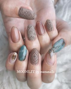 turquoise & embroidery 夏と秋の間 ㅤ design Sexy Nails, Classy Nails, Stylish Nails, Simple Nails, Cute Nails, Pretty Nails, Toe Nail Designs, Nail Polish Designs, Nailart