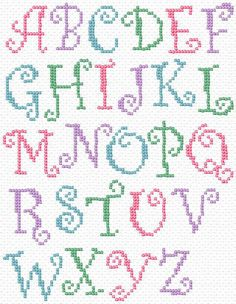 Free Printable Cross Stitch Patterns | Maria Diaz Designs: CURLY ALPHABET (Cross-stitch chart):